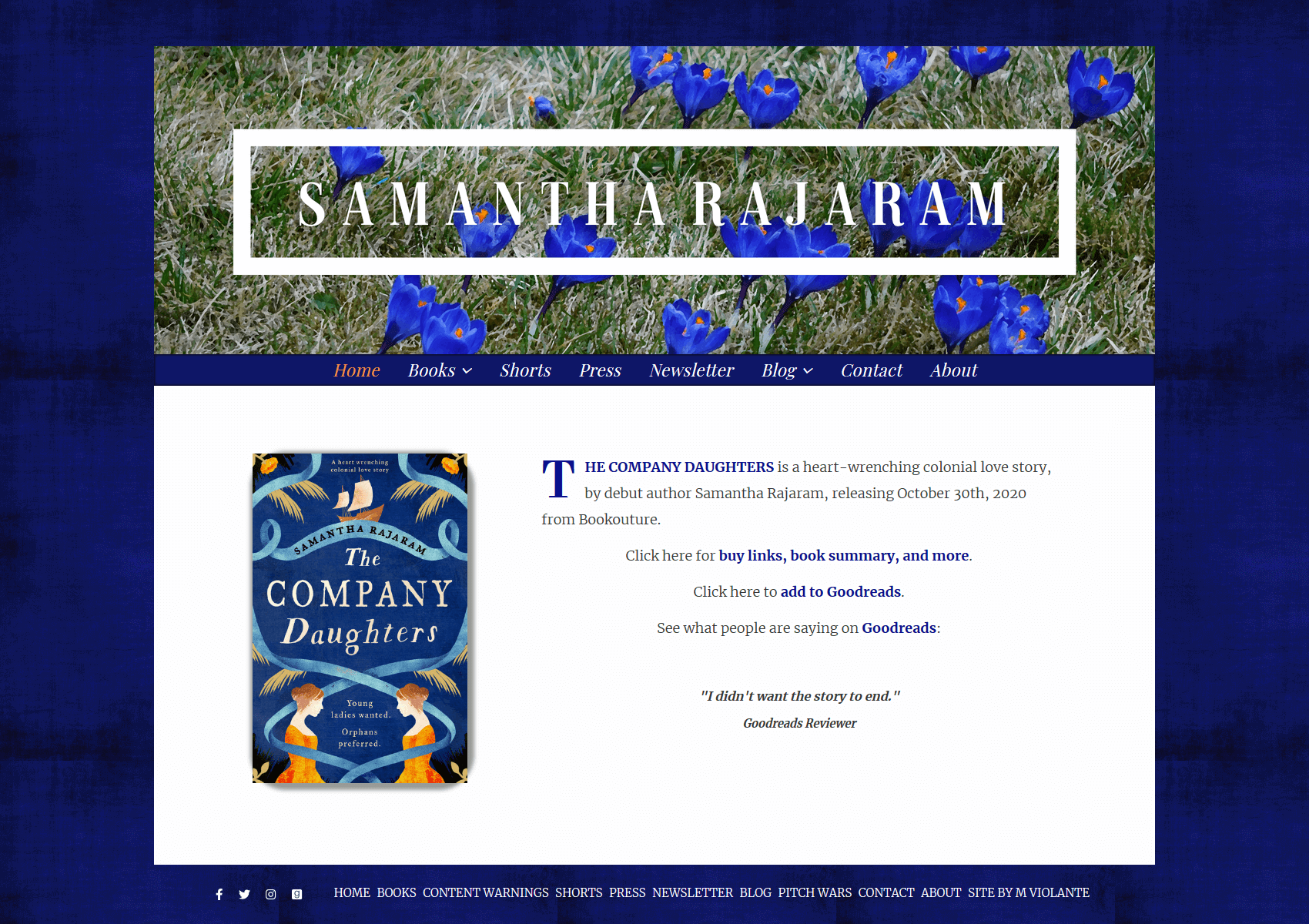 Large-Screen shot of SamanthaRajaram.com.