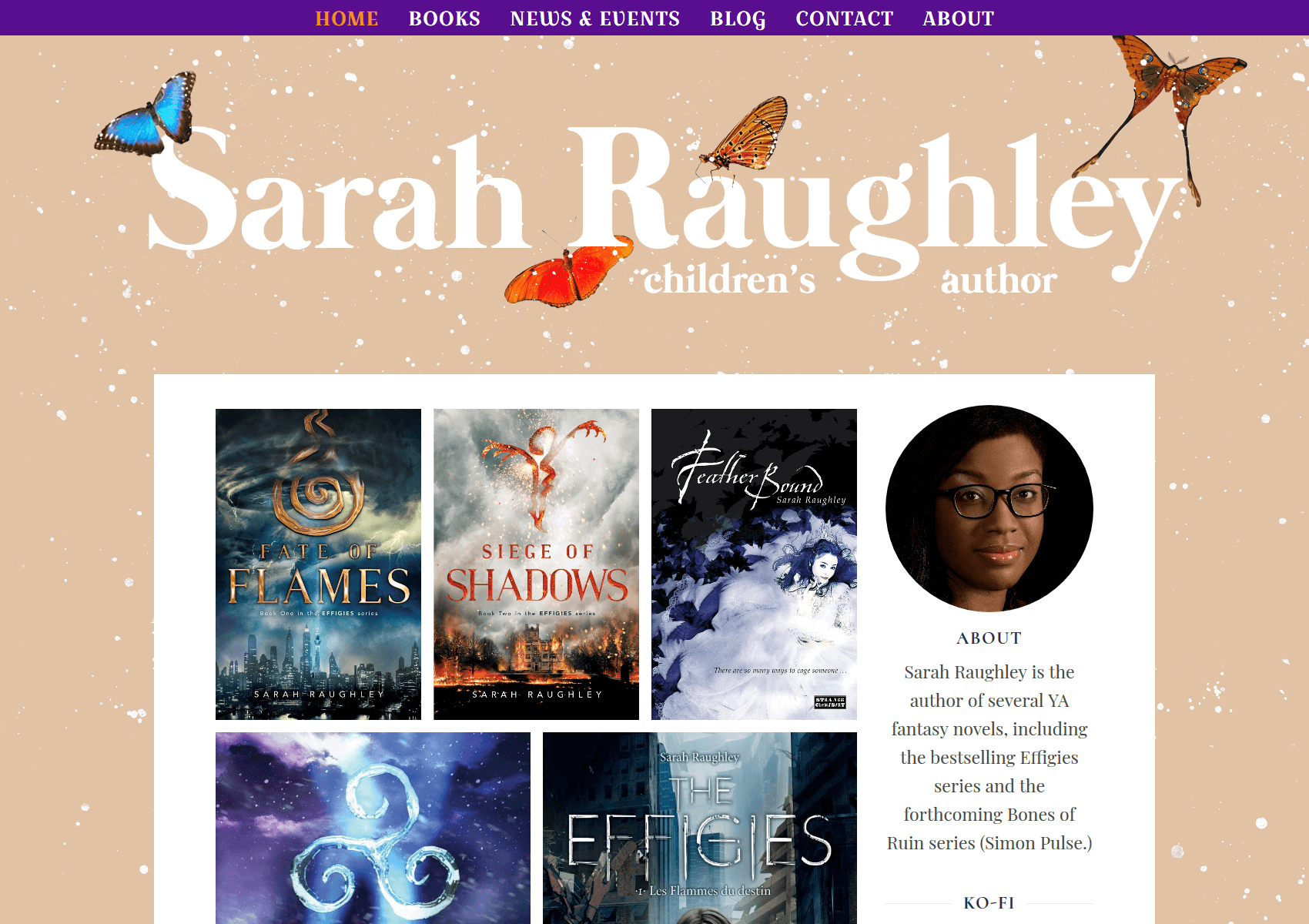 Large-Screen shot of SarahRaughley.com.
